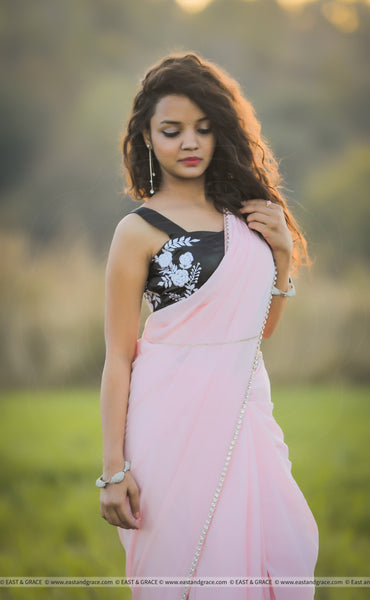 Ella Baby Pink Pure Silk-Crepe Saree with Black Embroidered Blouse