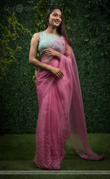 Arya Pure Silk-Organza Art Hand Embroidered Pink Saree