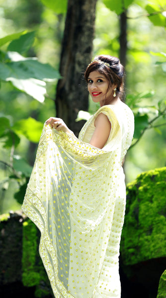 Yellow Primrose and Polka Dots Net & Pure Silk Chiffon Saree