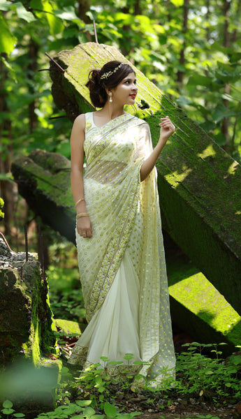 Yellow Primrose Polka Dots Net & Pure Flat Silk-Chiffon Saree