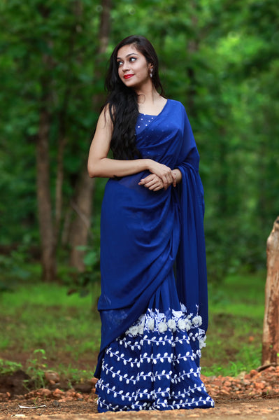 White Birdies on a Navy Blue Pure Silk Chiffon Saree