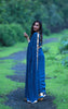 Deep Sea Blue-Green Pure Silk Georgette Saree with Sequins