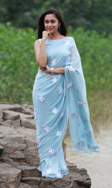 Powder Blue White Floral Pure Silk Chiffon Saree