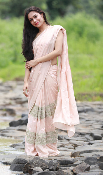 Peach Sorbet and Pearls Pure Silk Chiffon Saree