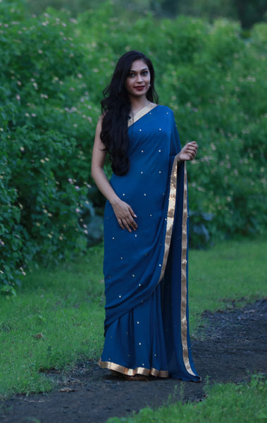 Deep Sea Blue-Green Pure Silk-Georgette Saree with Sequins