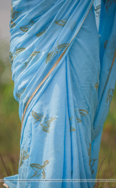 Gold Aviary Pure Silk-Chiffon Hand Embroidered Saree
