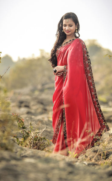 Red Ruby Silk Chiffon Saree with Gold Sequin Embroidery