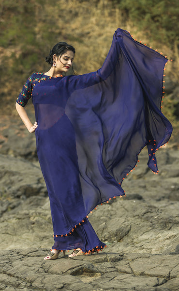 Blue Flame Pure Silk Chiffon Saree with Orange Tassels and Blouse Embroidery