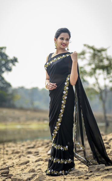 Black Buttercup Pure Silk Georgette Ribbonwork Saree