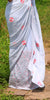 Light Gray Pure Georgette Saree with Briar Rose Embroidery