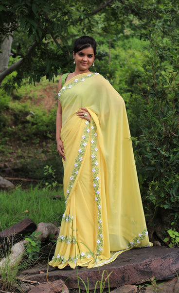 Pastel Yellow Pure Georgette Buttercup Ribbon-work Saree