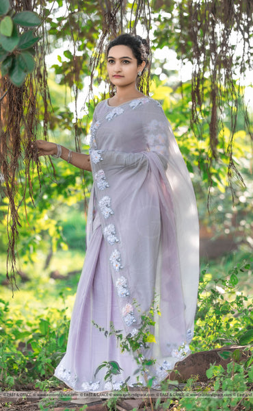 Swan Pure Silk-Chiffon Ribbon Embroidered Saree with Ribbon Embroidered Raw-Silk Blouse