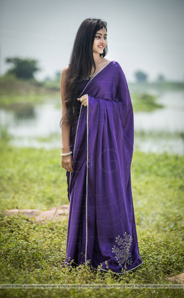 Purple Royale Satin Embroidered Saree