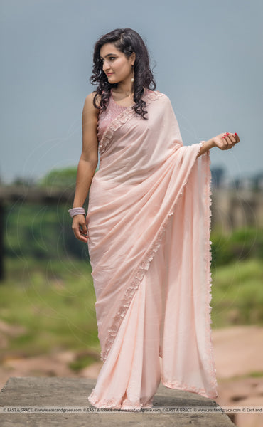 Rose Dust Pure Silk-Chiffon Saree with Raw-Silk Pearls' Embroidered Blouse
