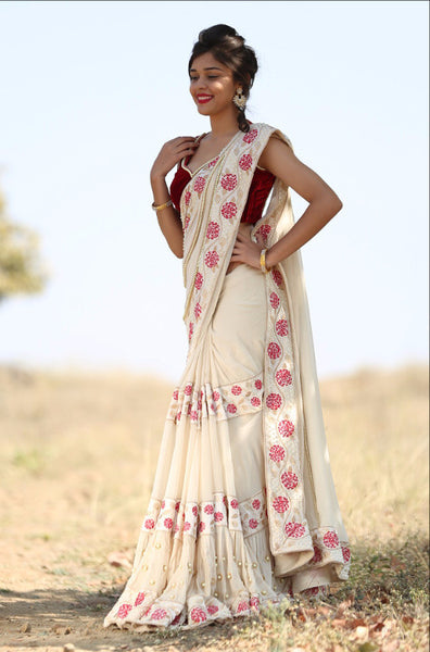Camellia Pure Silk Georgette Cream Saree with Pearls Embroidered Velvet Blouse