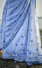 Forget-Me-Not Blue Pure Silk Chiffon and Net Embroidered Saree