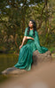Sweet Pear Celadon Green Pure Satin Georgette Saree