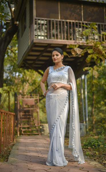 Moonlight Powder Blue Ribbonwork Roses Silk Chiffon and Net Saree