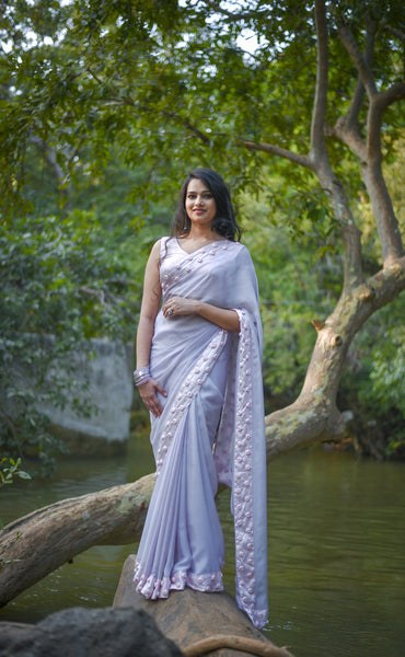 Winterland Grey Silk Chiffon Ribbonwork Roses Saree