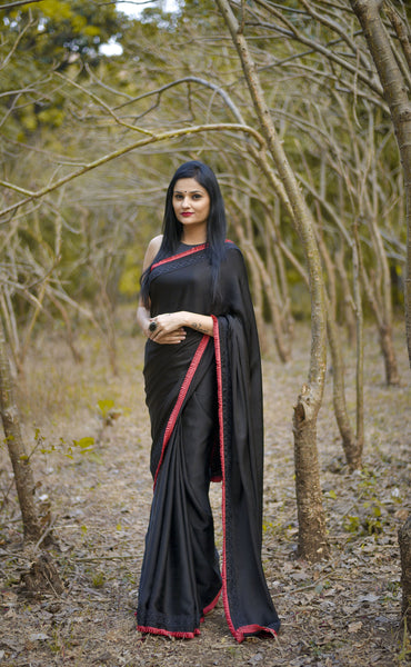 Nightsong Black Satin-Silk Saree with Pleated Border