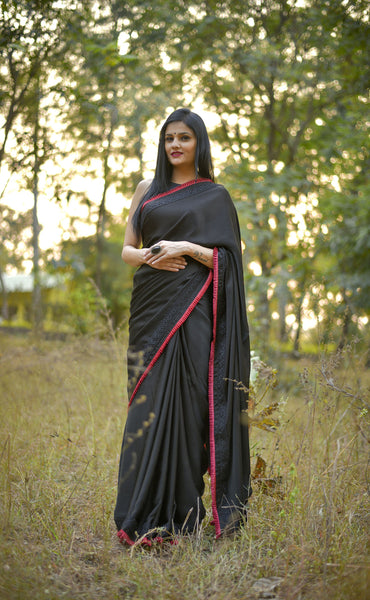 Nightsong Black Satin Silk Saree with Pleated Border