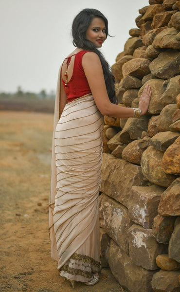Daydream Saree in Cream Silk Chiffon and Cutdana Embroidery