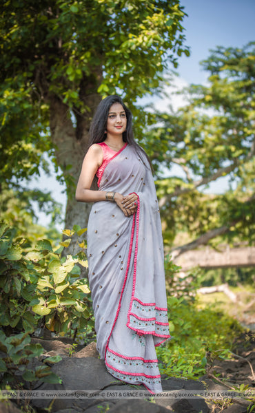 Pia Pure Flat Silk-Chiffon Hand Embroidered Saree
