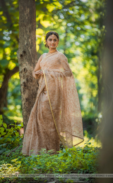 Vidya Pure Silk-Organza Hand-Painted & Embroidered Saree