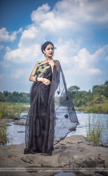 Black Cassia Pure Silk-Organza Hand Embroidered Saree
