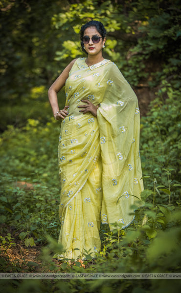 Sungold Pure Flat Silk-Chiffon Hand-Embroidered Saree