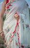 Rosa Pure Flat Silk-Chiffon Hand Embroidered and Printed Saree