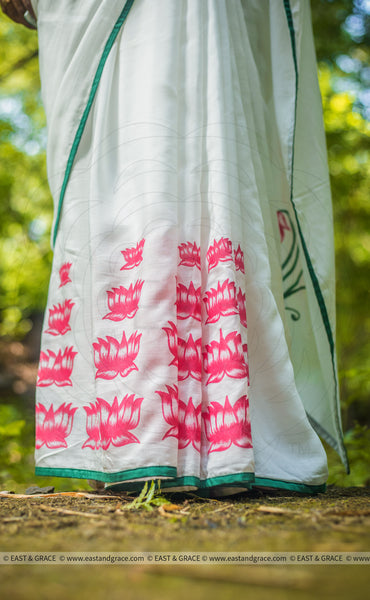 Padma Muslin-Cotton Hand-Painted Saree