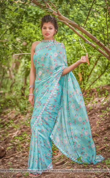 Mermaid's Dream Pure Silk-Chiffon Printed Saree with Raw-Silk Ribbon Embroidered Blouse
