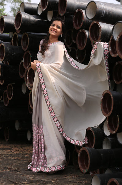 Gray Pure Silk-Georgette and Pure Silk-Chiffon Saree with Frangipani Floral Embroidery