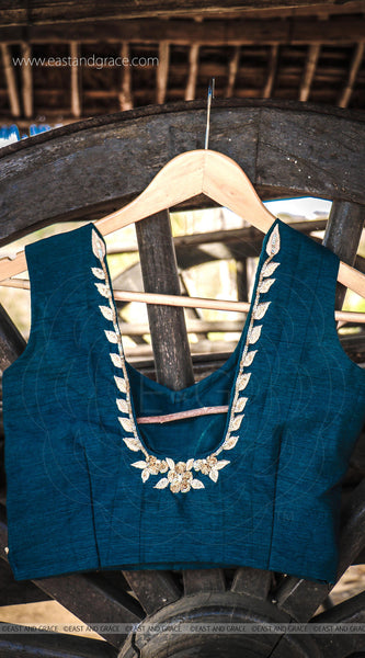 Deep Sea Green Raw Silk Zari Embroidered Blouse