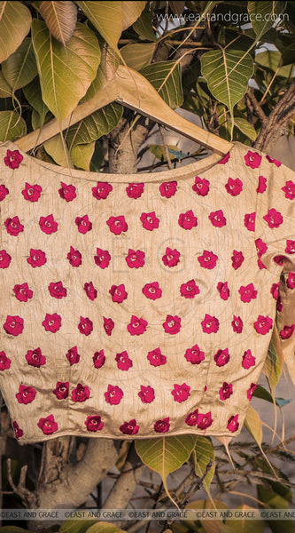 Morning Sunshine Red Rose Raw Silk Hand Embroidered Blouse