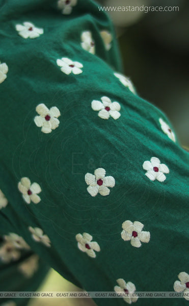 Sweet Pear Cotton Silk Celadon Green Hand Embroidered Blouse