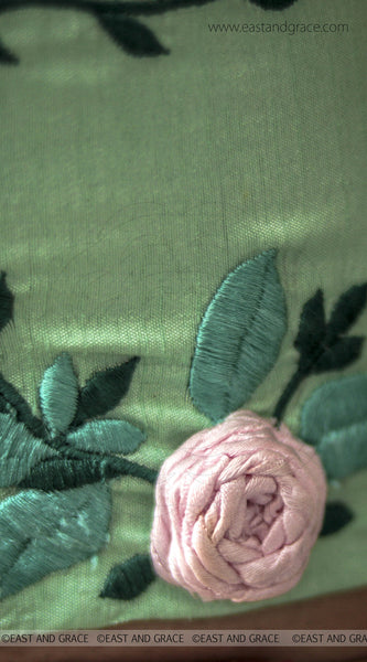 Green with Pink Rose Raw-Silk Embroidered Blouse