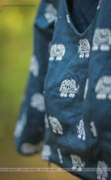 Elephant Navy Blue Embroidered Raw-Silk Blouse