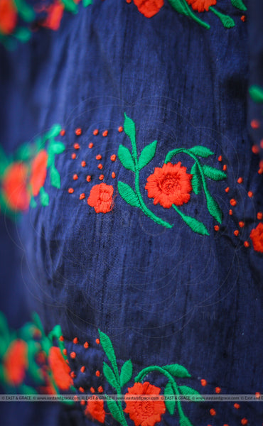 Blue Flame Raw Silk Blouse With Floral Embroidery
