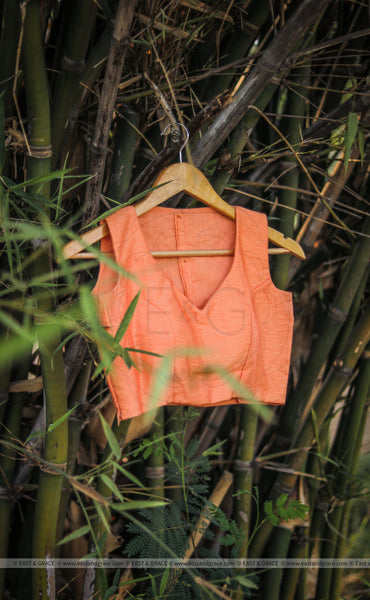 Tangerine Garden Raw Silk Blouse With Lace