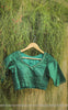 Dark Forest Green Raw Silk Blouse