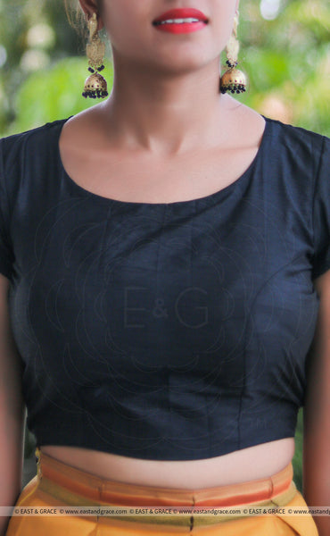 Black Raw Silk Plain Blouse