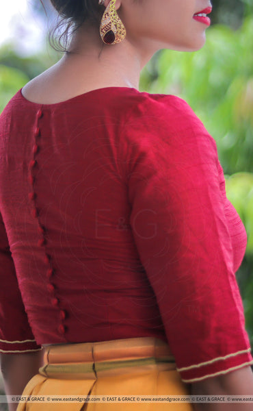 Dark Red Raw Silk Blouse