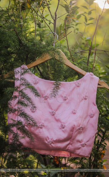 Pink Raw Silk Blouse With Hand Embroidered Baby Ribbon Roses