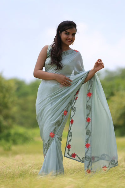 Sage Green Pure Silk-Chiffon Saree with Embroidered Lilies