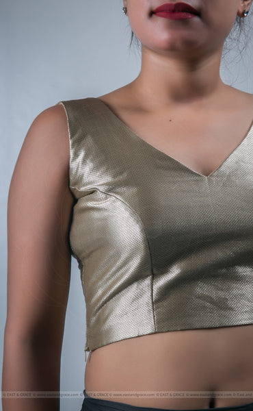 Metallic Bronze Colored Brocade Fabric Blouse