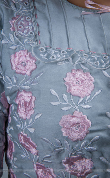 Flower's Breath Gray Cotton-Satin Blouse with Floral Embroidery
