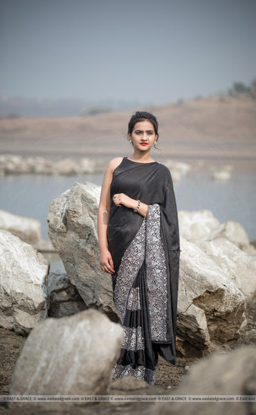 Aratrika Black Pure Satin Embroidered Saree