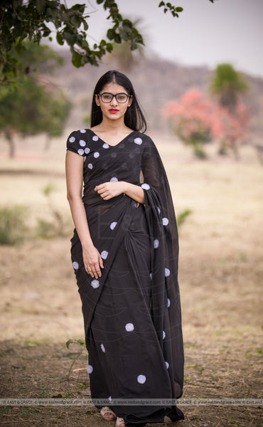 Black Forest Pure Silk-Chiffon Embroidered Saree
